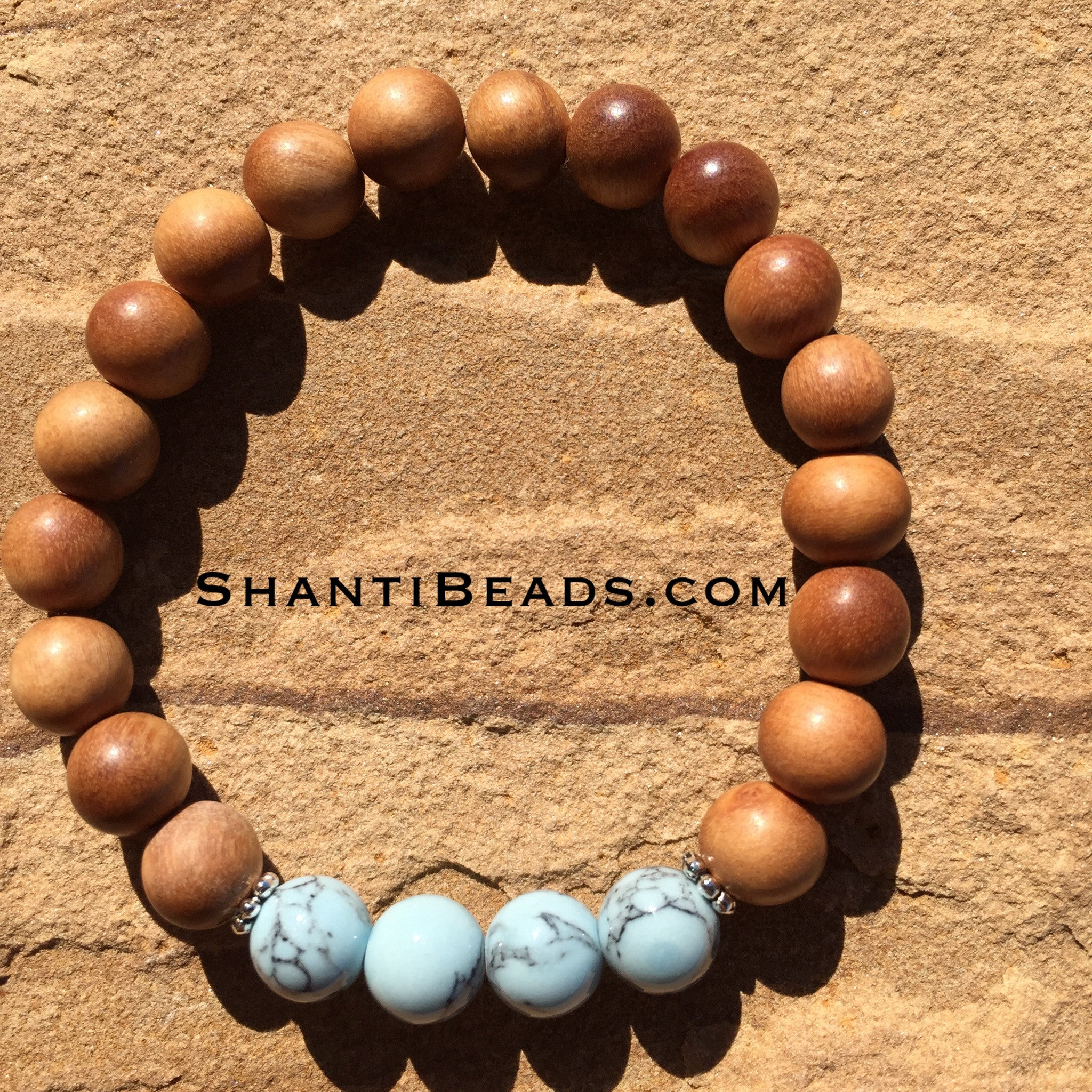 Fragrant Sandalwood With Baby Blue Howlite