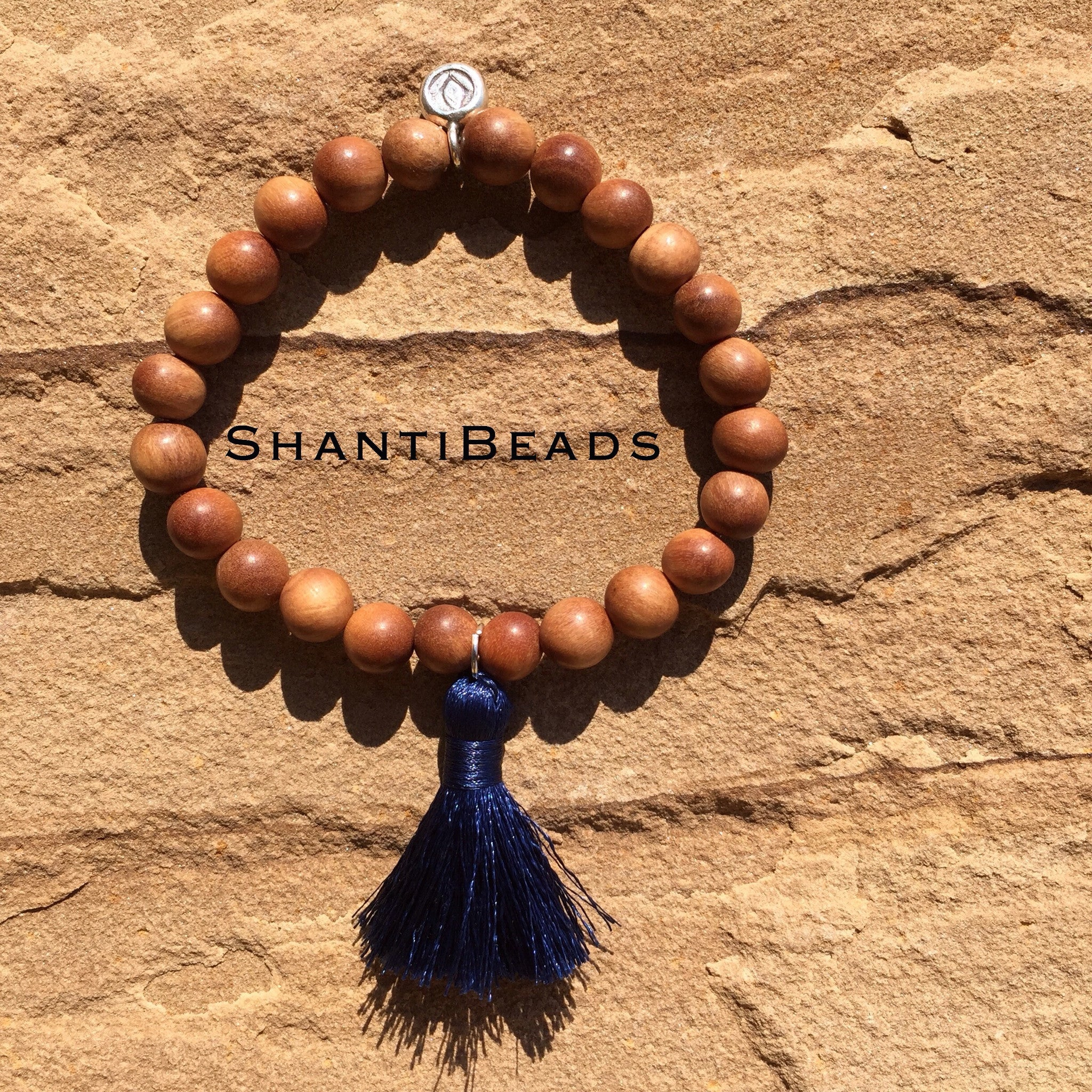Fragrant Sandalwood Yoga Bracelet With Blue...
