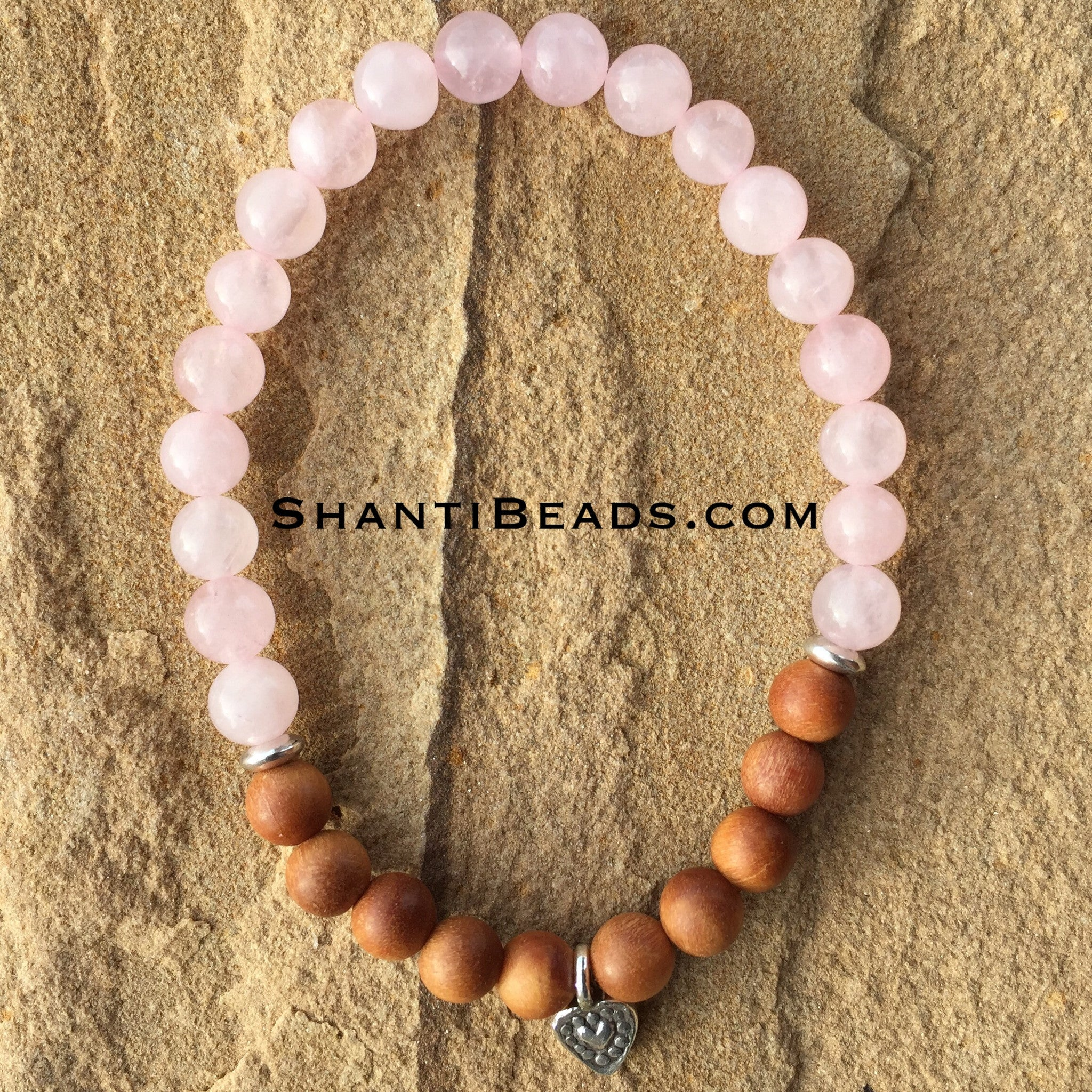 Rose Quartz, Fragrant Sandalwood &Amp; Heart Charm