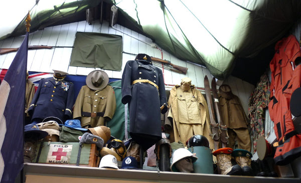 Military uniforms at Army and Outdoors Auckland Shop
