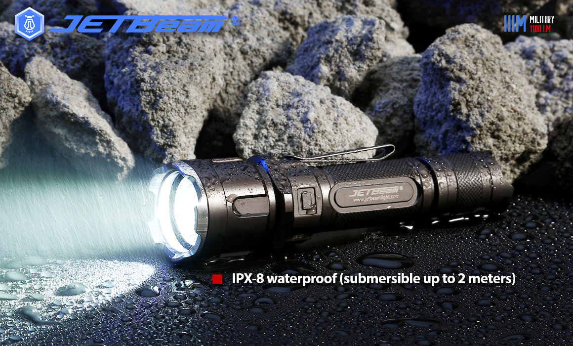 JETBeam IIIM Pro IPX8 Waterproof to 2 metres.
