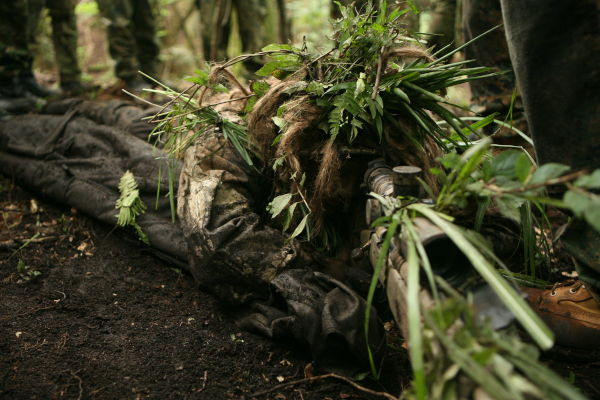 ghillie suit in use