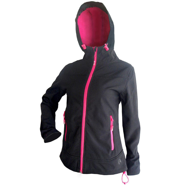 Rosella Black Softshell Jacket (pink trim)