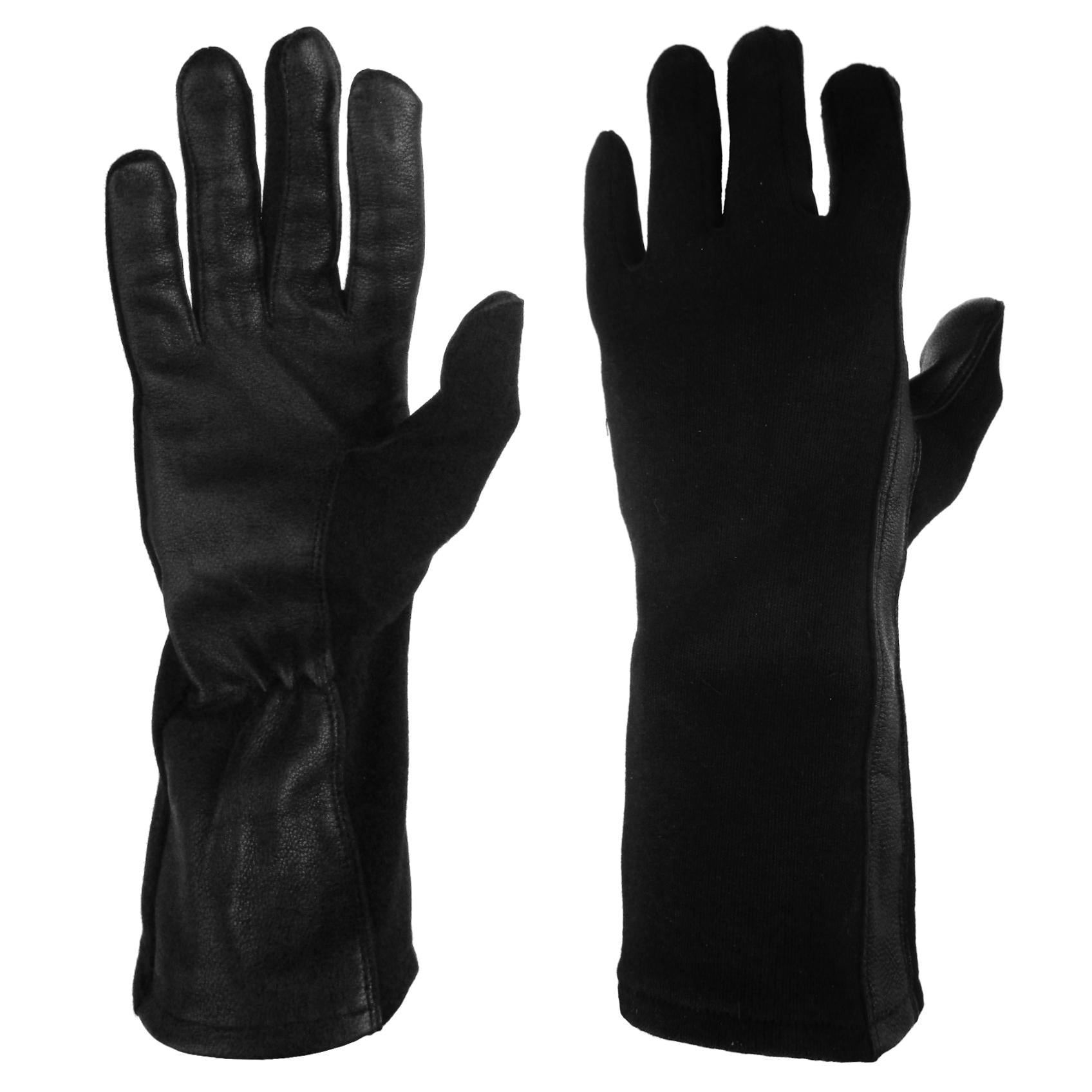 Nomex Flight Gloves Black Fire Resistant Tactical Leather XX Large Size 12 NEW