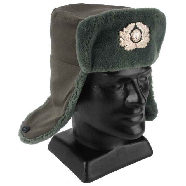 East German Ushanka With Badge