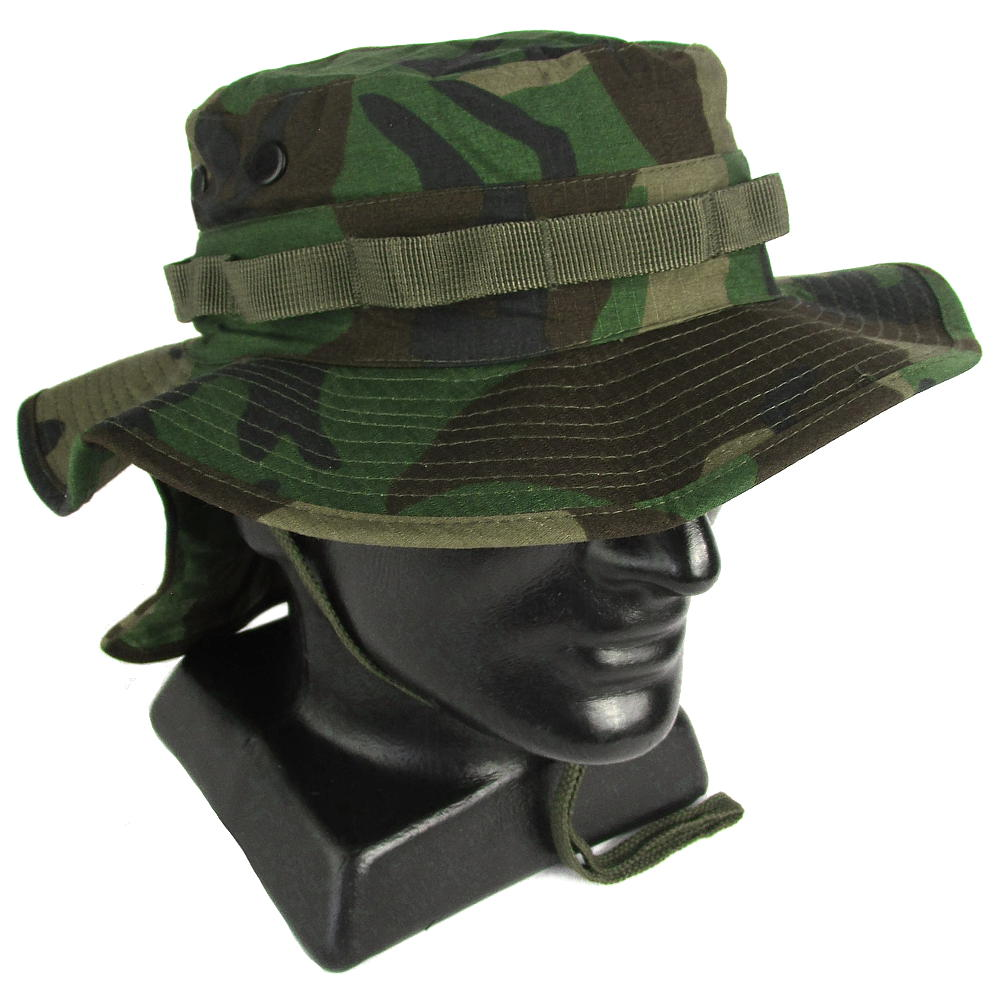 1368be11 Woodland Boonie Hat with Neck Flap | Army & Outdoors