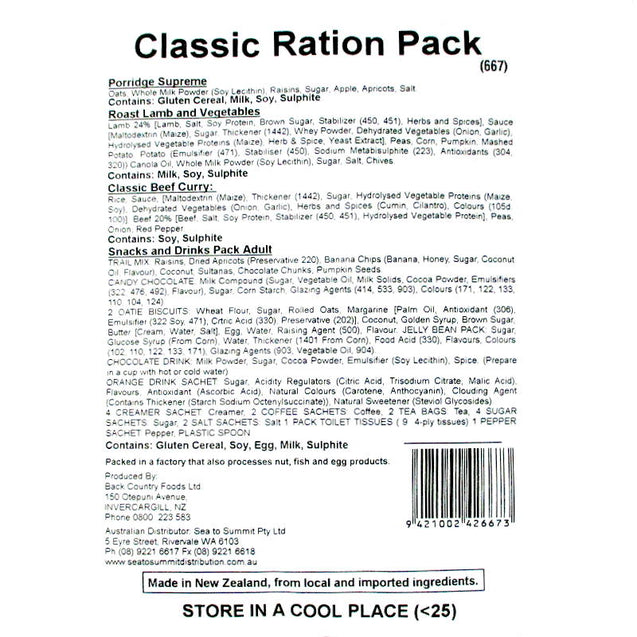 Back Country Cuisine - Classic Ration Pack
