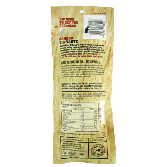 Biltong Air-Dried Original Beef 100g
