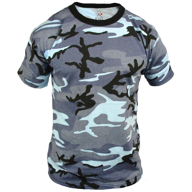 Coloured Camo T-Shirt - Sky Blue