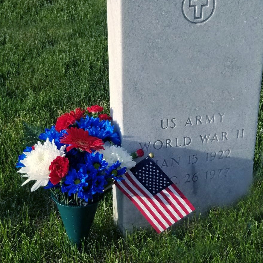 Memorial Day Flowers - Includes Flag - Fort Snelling Cemetery Flowers