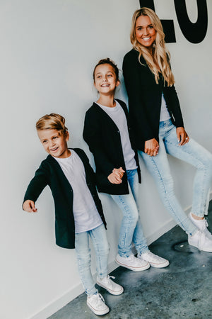 Signature Jet Black Cardigan for Kids by BEAU HUDSON - b