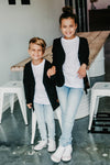 Signature Jet Black Cardigan for Kids by BEAU HUDSON - a