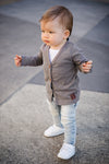 Dark Grey Marle Signature Cardigan for Babies main