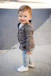 Dark Grey Marle Signature Cardigan for Babies side
