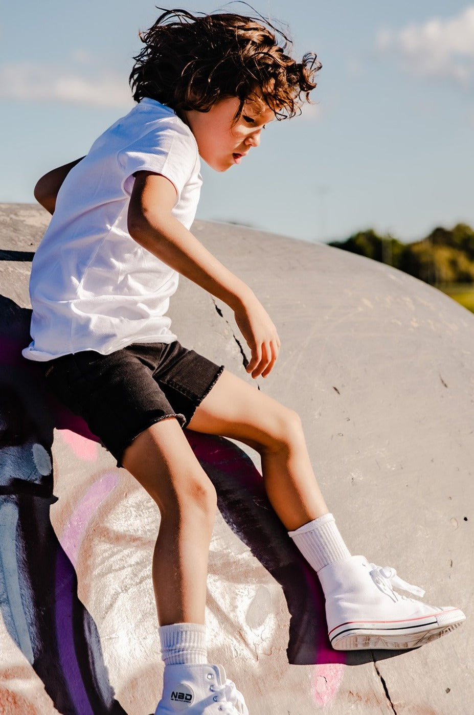 Black Denim Jeg Shorts - Kids