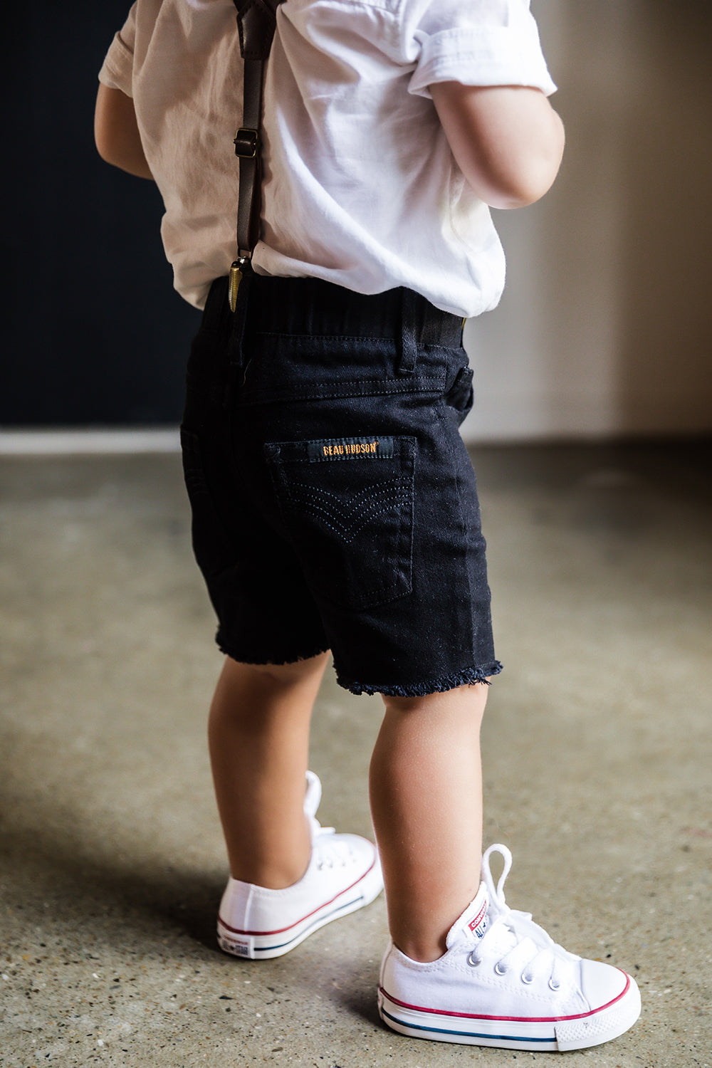 Black Denim Jeg Shorts for Babies