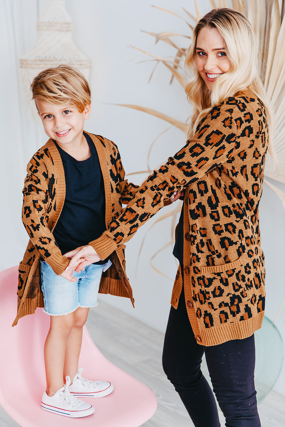 Chunky Leopard Knit Cardigan for Kids fam