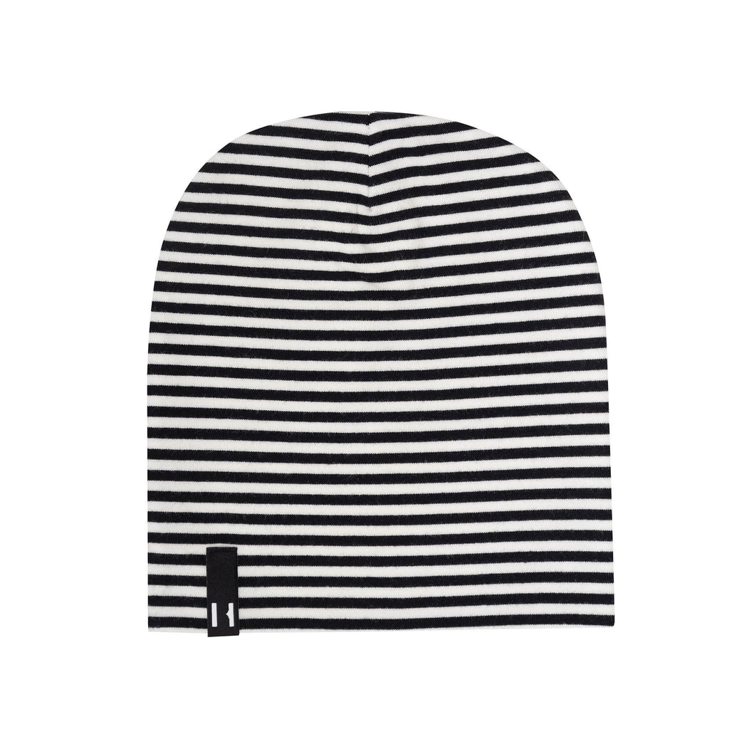 Black and white stripe baby beanie