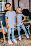 Signature Grey Raw Edge Tee for Kids - main