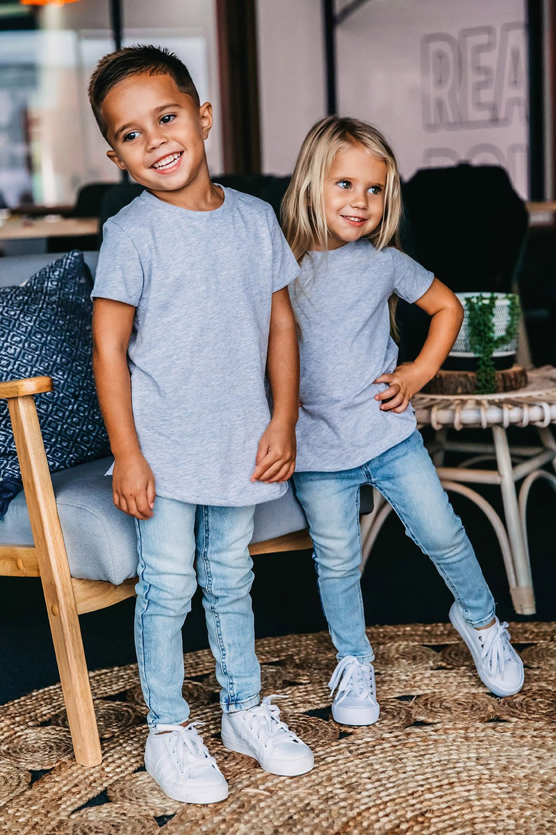Signature Grey Raw Edge Tee - Kids by Beau Hudson