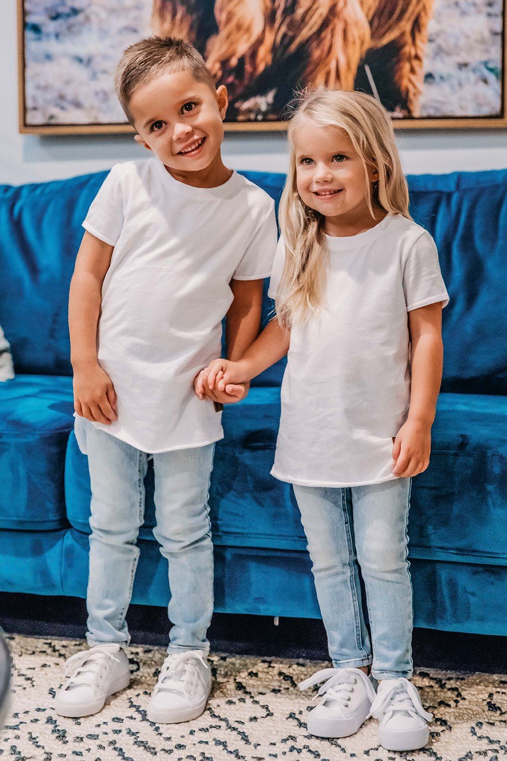 White Signature Raw Edge Tee for Kids  - boy/girl