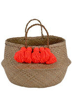Load image into Gallery viewer, Neon Coral Tassel Basket