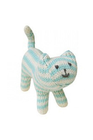 Blue Knit Cat Rattle