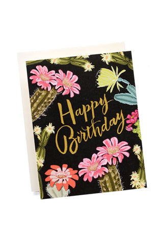 Cactus Blooms Birthday Card