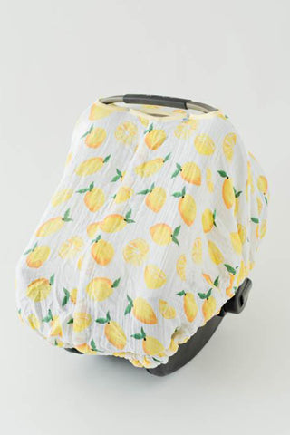 Cotton Muslin Car Seat Canopy | Lemon