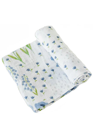 Blue Windflower Deluxe Muslin Swaddle