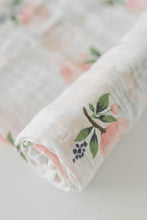Load image into Gallery viewer, Watercolor Rose Cotton Muslin Swaddle