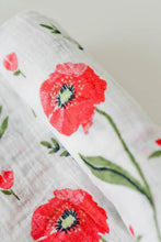 Load image into Gallery viewer, Summer Poppy Cotton Muslin Swaddle