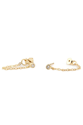 Chain Stud Earrings With Stone