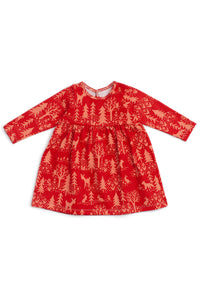 Geneva Baby Dress | Winter Scenic Cranberry