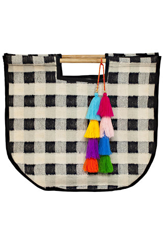Gingham Round Carry Bag