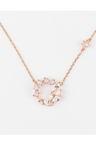 Delicate CZ Wreath Necklace | Rose Gold