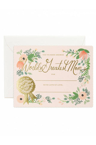 Greatest Mom Certificate Card