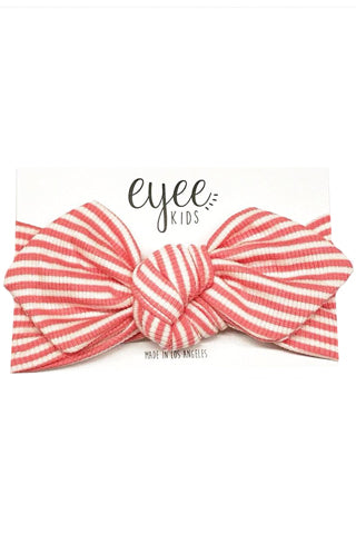 Ribbed Coral & White Striped Headband