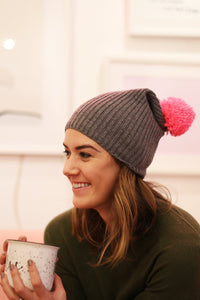 Lightweight Watch Cap With Hot Pink Knit Pom