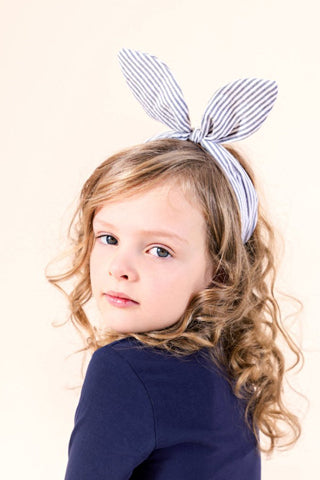 Coco Bow Headband | Denim Stripe