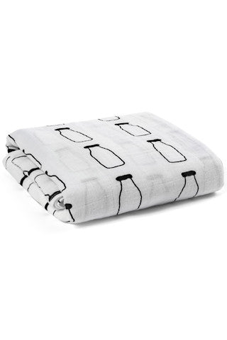 Organic Muslin Swaddle Blanket - Milk Bottles