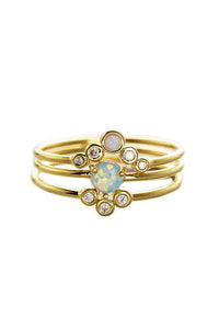 Triple Gold & Opal Stackable Rings