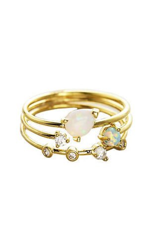 Triple Ring Set with Opal & CZ Stones