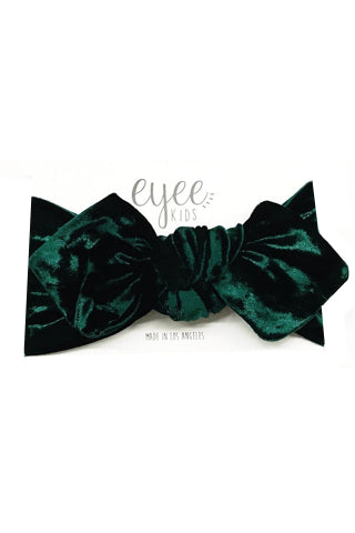 Crushed Emerald Green Velvet Top Knot Headband