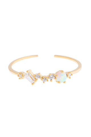 Charming Opal Adjustable Ring | Gold