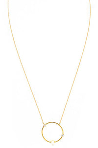 Circle Necklace with Opal & CZ Accents Necklace
