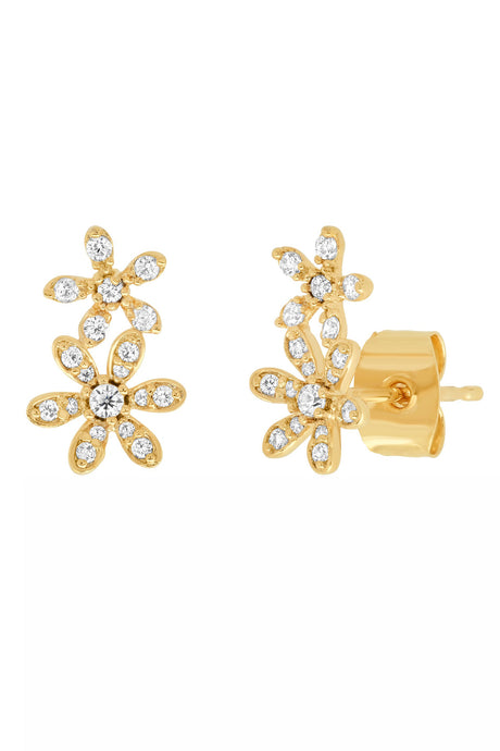 Gold Pave Flower Climber Earrings