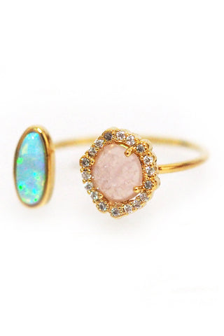 Adjustable Gold Ring with Opal Stone & Rose Crystal