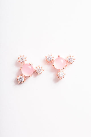 Baby Pink Flower Earrings | Rose Gold