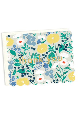 Scalloped Floral Thank You Card